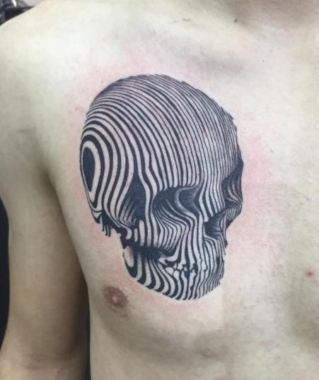 skull tatuaje realizado por Rene pacheco