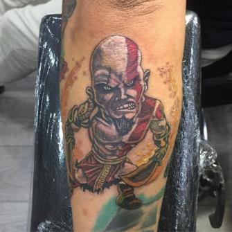 kratos tattoo tatuaje realizado por Rene pacheco