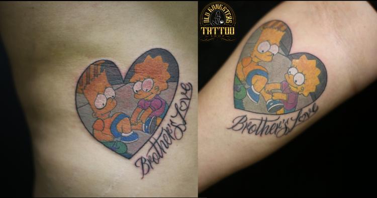 BART Y LISA tatuaje realizado por Old Gangsters Tattoo Shop