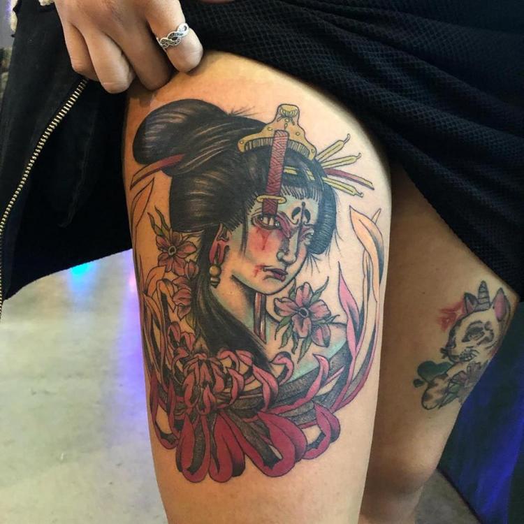 Geisha estilo japones tatuaje realizado por Maferchu Tattoo