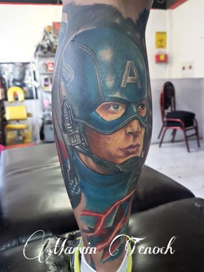 Capitán América Avengers endgame tatuaje realizado por Marvin Estudi Tenochtitlan