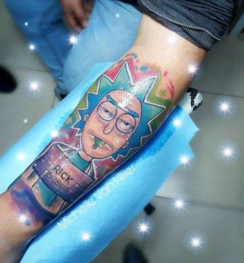 Rick tatuaje realizado por Michelle Van Hiller