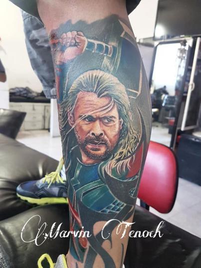 Thor Avengers tatuaje realizado por Marvin Estudi Tenochtitlan