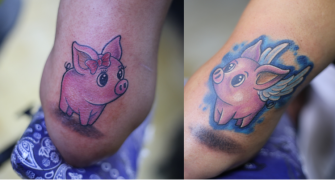 PUERQUITOS EN PAREJA tatuaje realizado por Old Gangsters Tattoo Shop