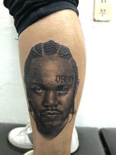 Kendrick Lamar tatuaje realizado por Angel Ruiz (Hard Core)
