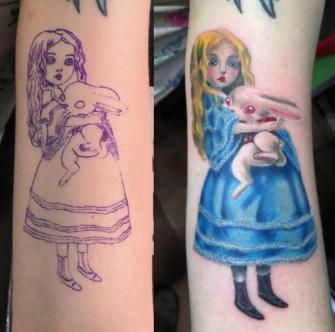 Alicia  tatuaje realizado por Totentanz Cabral