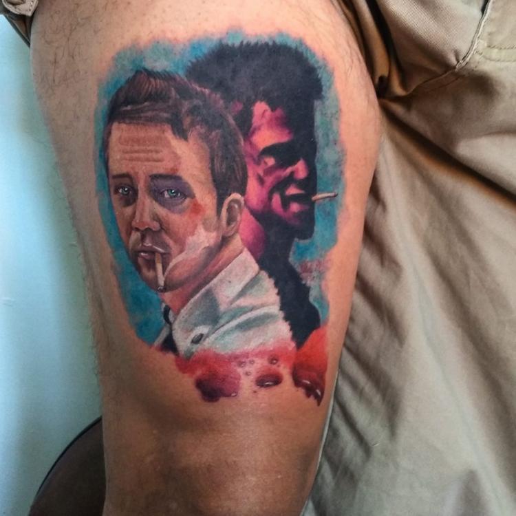 Jack & Tyler tatuaje realizado por Carlos Koyote Ramirez