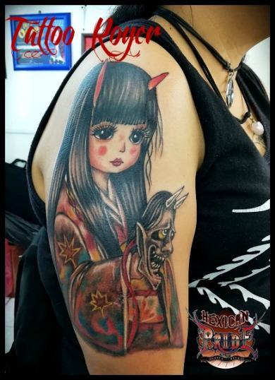 geisha tatuaje realizado por Roberto Girón