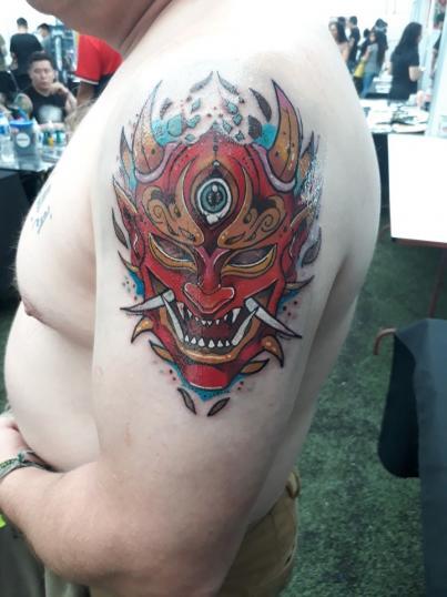 Demonio neotradiciona tatuaje realizado por Ginebra Lilith
