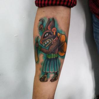 Tlacuache pulquero tatuaje realizado por Carlos Koyote Ramirez