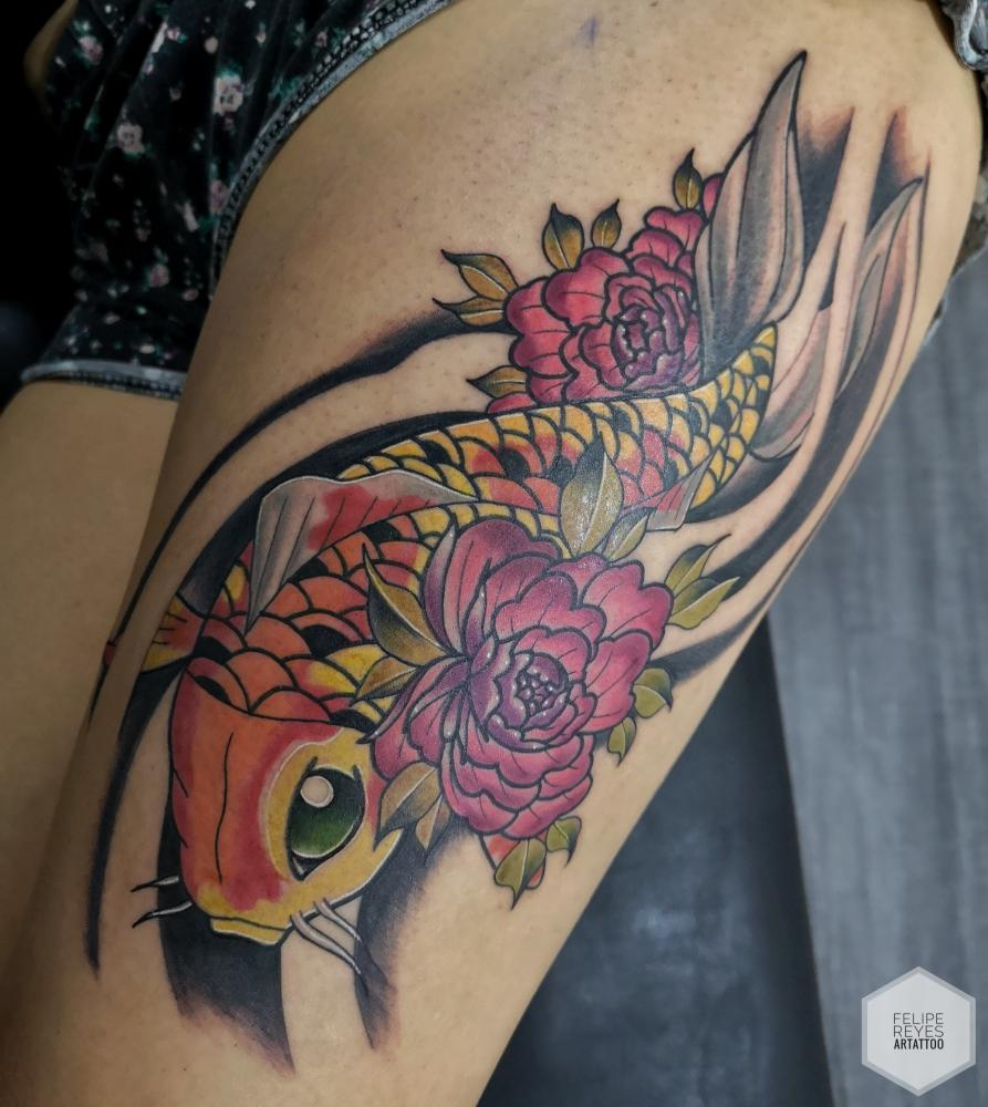 pez koi (diseño propio)  tatuaje realizado por Felipe Reyes