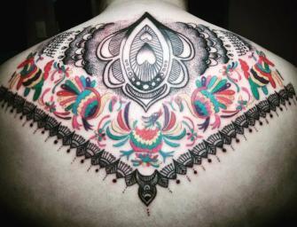 Aves arte mexicano  tatuaje realizado por Ruth Winchester