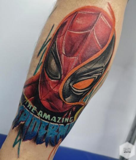 spiderman  (diseño propio)  tatuaje realizado por Felipe Reyes