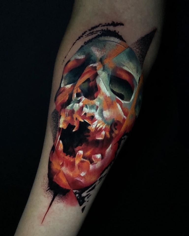 Cráneo Surrealista  tatuaje realizado por Armandean