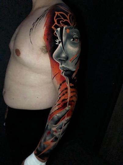 Retrato mujer, manga completa tatuaje realizado por Armandean