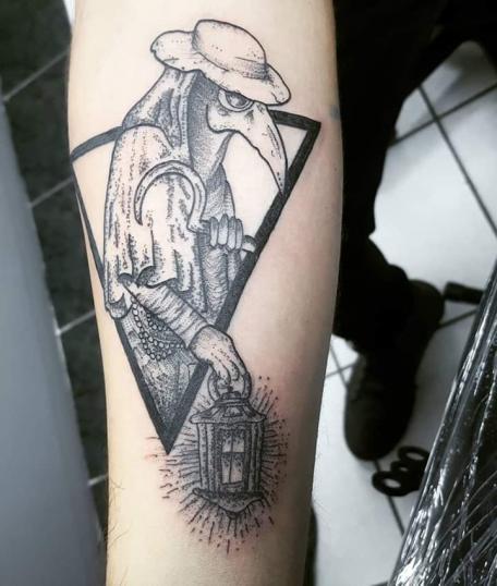 Brujo Blackwork tatuaje realizado por Rikardo romo
