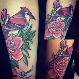 Cardenal Tradicional tatuaje realizado por Rikardo romo