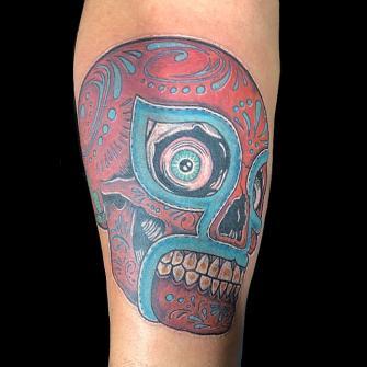 Luchador tatuaje realizado por Rene pacheco