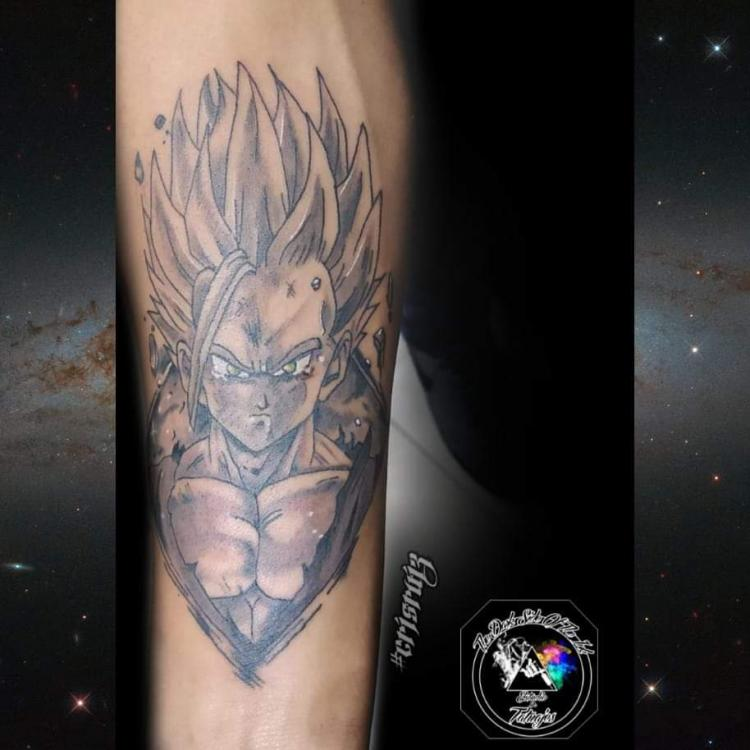Gohan  tatuaje realizado por Cristhian Ruiz