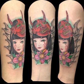 Oriental  tatuaje realizado por Rene pacheco