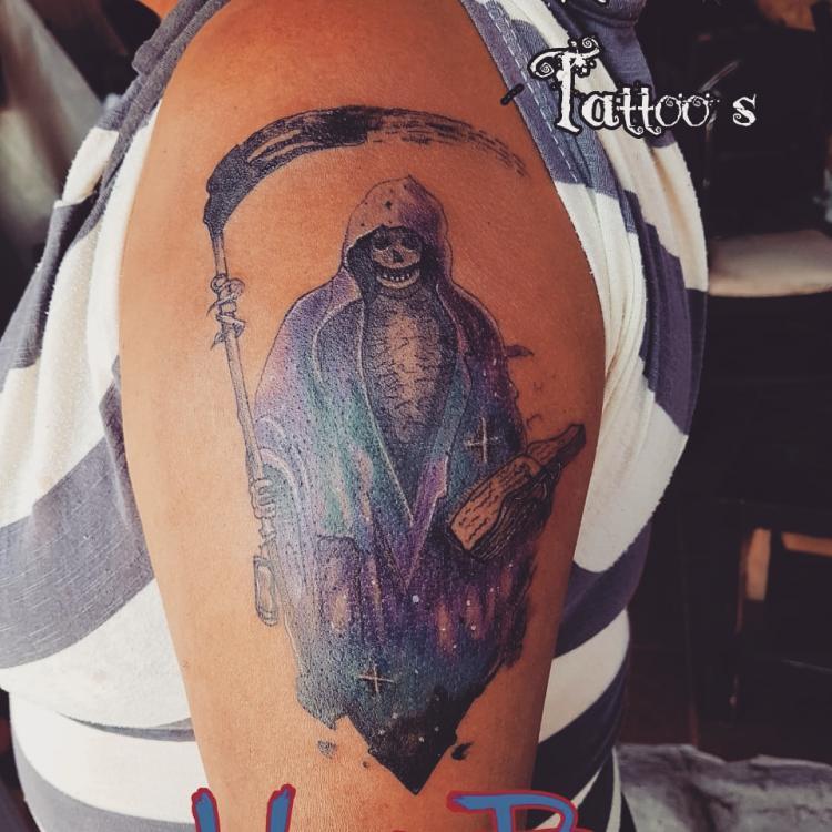 Santa muerte tatuaje realizado por Zaa Hunter