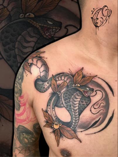Serpiente  tatuaje realizado por Christian Garcia (Otto)