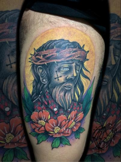 Cristo  tatuaje realizado por Christian Garcia (Otto)