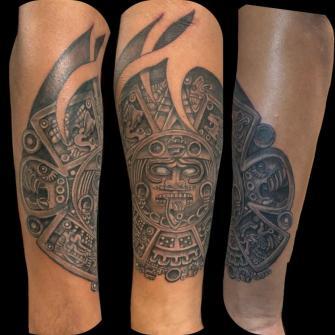 Prehispánico  tatuaje realizado por Rene pacheco